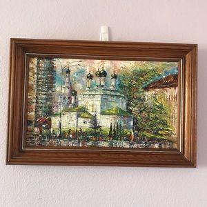 Vintage multicolored original oil painting
